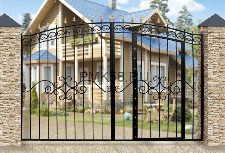 Ворота Дачные-арочные-со-встроенной-калиткой