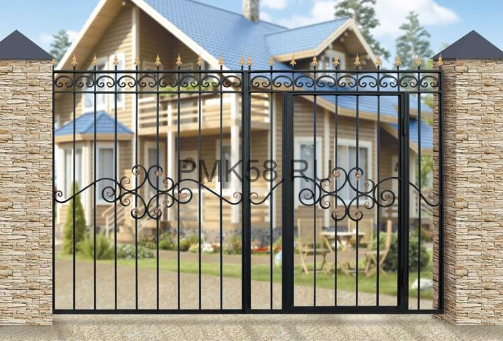 Ворота-дачные-со-встроенной-калиткой